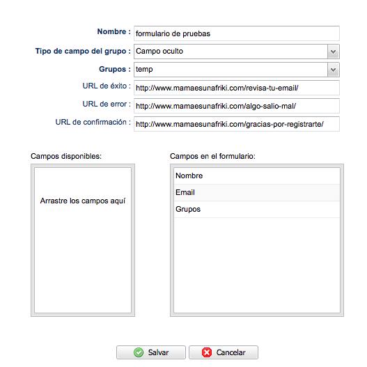 configuración de un formulario personalizado en mailrelay